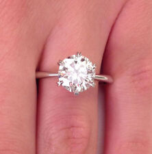 2.00 Ct Round Diamond Engagement Ring 14K Real White Gold Solitaire Rings Size 6