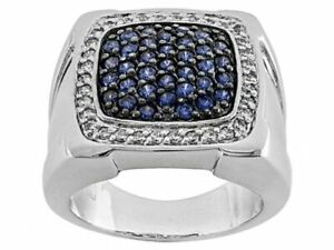 Blue and White Sapphire Stunning Round Cut 2.60 TCW Men's Ring 925 Pure Silver