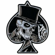 Top Hat Skull Ace of Spades Biker Patch Iron On Sew On Military Tactical