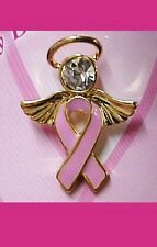 Pink Ribbon Crystal Angel Lapel Pin Head Halo Breast Cancer Awareness Tac New