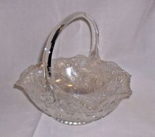 "Vintage Smith Glass Crystal Lustre White Carnival Glass 8"" Iridescent Basket"
