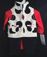 NWT Infant Girls Carter's 3pc Cowgirl Outfit NB Polka Dots Cruella Vest Fleece