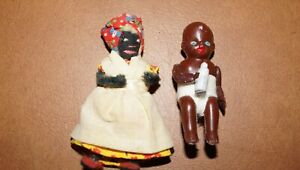 Vintage Celluloid Baby Doll & Pipe Cleaner Doll Miniature Black African