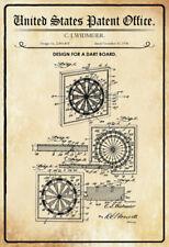 US Patent Dart Scheibe Board 1936 Blechschild Schild gewölbt Tin Sign 20 x 30 cm