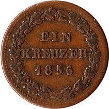 1856 Germany - Nassau 1 Kreuzer Coin KM#67 Mintage 356,500