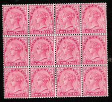 INDIA QV 1882 MINT BLOCK OF 12, 9p ROSE SC# A18/37 UNHINGED WMK 39