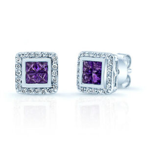 14k White Gold Princess Amethyst Diamond Square Stud Earrings Natural Invisible