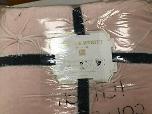 Pottery Barn Teen Emily & Meritt Velvet Tufted Quilt Twin Blush Pink NEW