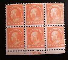 US Series of 1917-19:  Scott #510 10c Washington OG NH Block of 6   $400 GEM!!