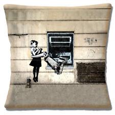 Banksy Art Cushion Cover Cash Machine Mechanical Arm Girl 16 inch 40 cm