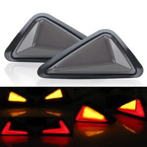 2X Flush Mount Motorcycle LED Turn Signals Light DRL Red Yellow Brake Running