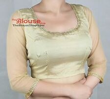 Sari Saree Blouse Gold Silver Quarter Sleeves Indian Bollywood Stitched Choli