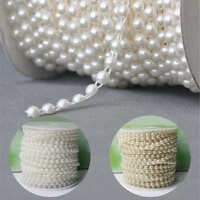 6mm Pearl Garland String Chain for Wedding Bridal Corsages Decorations Flat Back