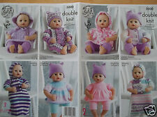"18"" BABY DOLLS CLOTHES KNITTING PATTERN SUITABLE FOR PREM BABY KING COLE 5000"