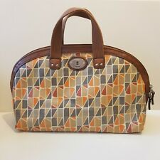 Retro Vintage Fossil PVC Handbag Abstract Kitsch Quirky Print ExcellentCondition