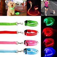 Adjustable Nylon LED Light Night Safety Bright Flash Dog Pet Collar Leash