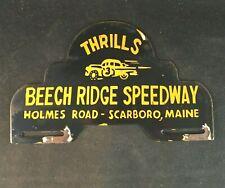 BEECH RIDGE SPEEDWAY MAINE LICENSE PLATE TOPPER PORCELAIN Rare Advertising Sign
