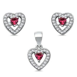 Heart Ruby Micro Pave Clear CZ Stud Earrings & Pendant Sterling Silver Set