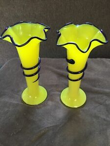 Vintage Yellow & Blue Fluted Tango Vases Pair