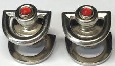 Kum-A-Part Snaps CuffLinks Patt. 1923 Silver Tone Red Stone Deco (CL83)