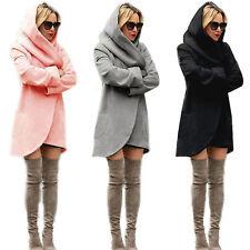 UK Women Woolen Hooded Coat Loose Ladies Casual Hoodies Hood Jacket Overcoat Top