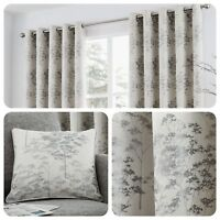 Curtina ELMWOOD Silver Metallic Jacquard Woven Eyelet Curtains & Cushions