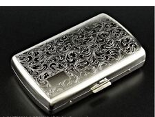 Silver Design METAL CIGARETTE CASE..... chrome cigerette holder smoker gift etc.