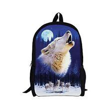 3D Animal Wolf Women Girls Travel Backpack Rucksack Childrens School Bag Bookbag
