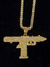 "Gold Uzi Iced Pendant 24"" Box Chain Necklace Gun AK47 Draco"