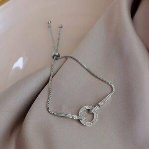 14k Gold Crystal Zircon Flower Bracelet Adjustable Bangle Women Wedding Jewelry