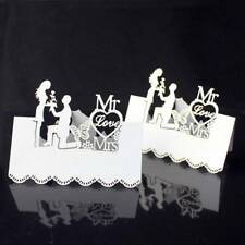 50pcs White Laser-Cut Hollow Butterfly Wedding Party Table Place Card Name.