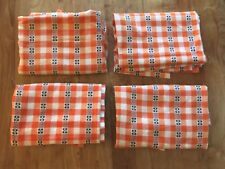 4 Vintage Orange White Plaid Check French Belgian Dutch Kitchen Curtains Drapes