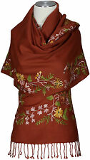 Schal Terracotta Braun 100% Wolle wool scarf brown écharpe bestickt embroidered