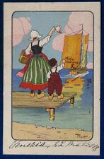 OLANDESINI mamma e bimbo illustrata PINOT postcard viaggiata anni 20 f/p #16102