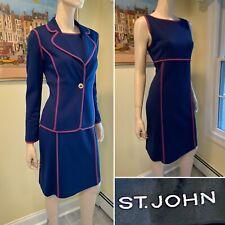 ST JOHN Size 4/6 Small Dark Blue 2-Piece Stretch Wool Sheath Dress & Blazer Set