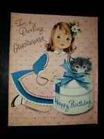 Vtg Norcross Birthday Greeting Card Girl Kitten Hat Box GRANDDAUGHTER 1950s