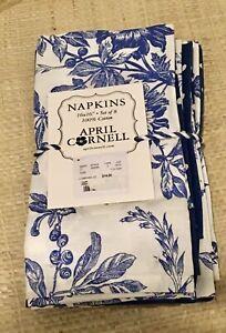April Cornell Set Of 8 Cloth Napkins~Navy Blue & White Floral Polka Dot
