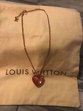 "Louis Vuitton RED Gold Tone Monogram Heart Pendant ""Inclusion"" Necklace"