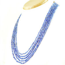 156.00 CTS NATURAL UNTREATED 5 LINE RICH BLUE TANZANITE ROUND CUT BEADS NECKLACE