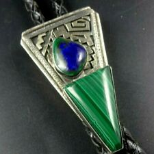 Vintage NAVAJO Sterling Silver Overlay AZURITE MALACHITE BOLO Tie PETER NELSON