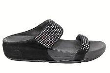 FITFLOP Flare Slide Black Beaded Thong Flip Flop Sandal Womens 39/8M
