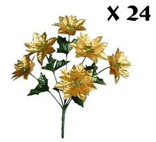 24 Poinsettia Bushes Pack Christmas Silk Flower Leaf Home Office Holiday Decors