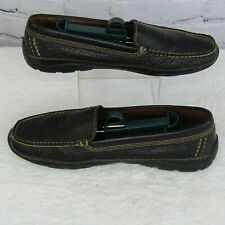 LL Bean Brown Leather Moccasin Loafers 0DQJ5 Vibram Sole Men's Shoes US 9.5