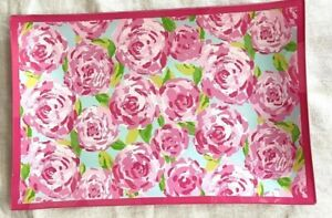 Lilly Pulitzer First Impression Glass Tray Pink Green Floral....Pre-Owned
