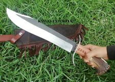 Blacksmith New Custom made Damascus Steel Hunting Bowie Knife Stag & Wood Handle