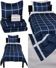 AmazonBasics 5-Piece Bed-In-A-Bag Comforter Twin/Twin Xl, Navy Simple Plaid