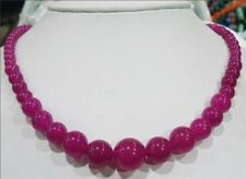 Charming! Natural 6-14mm Brazilian Rose Red Ruby Gems Round Beads Necklace 18''