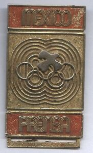 Orig.participant pin   XIX.Olympic Games MEXICO 1968  -  PRESSE  !!  EXTREM RARE