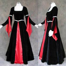 Black Velvet Red Medieval Renaissance Cosplay Gown Dress Costume Goth Vampire 2X
