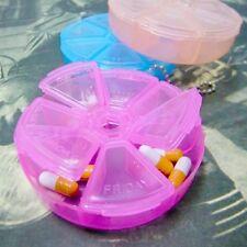 Portabel Taster Runde Pillendosen Pillenbox 7 Tagen Medikamentenbox Tablettenbox